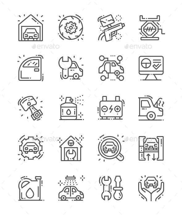 Garage Line Icons - Miscellaneous Characters