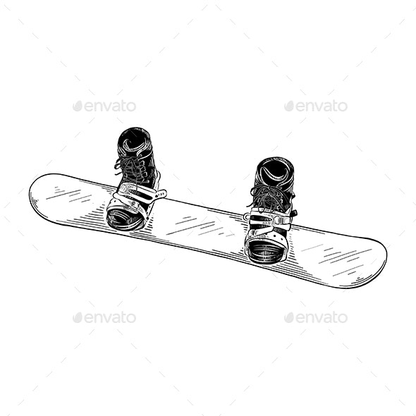 Hand Drawn Sketch of Snowboard Isolated on White Background - Sports/Activity Conceptual