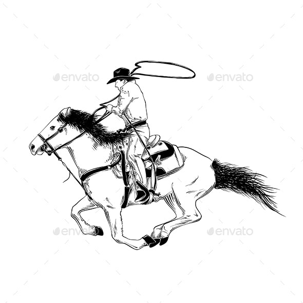 Hand Drawn Sketch of Western Cowboy on Horse - Sports/Activity Conceptual