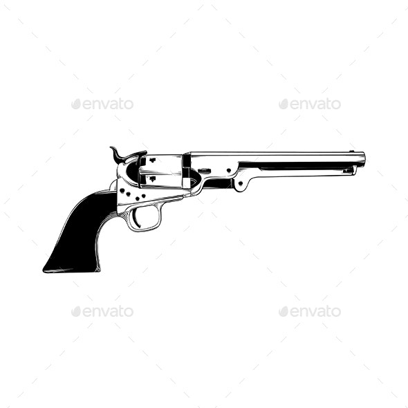 Hand Drawn Sketch of Western Gun Isolated - Miscellaneous Vectors