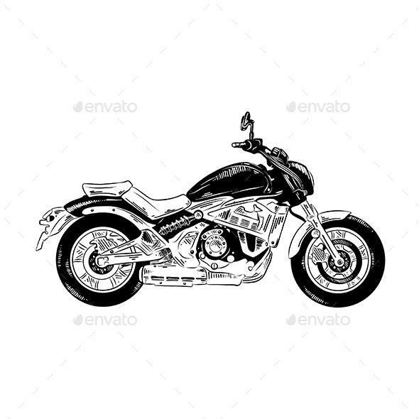 Hand Drawn Sketch of Motorcycle - Miscellaneous Vectors