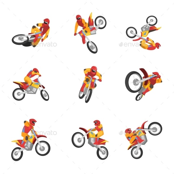 Motorcyclist Driving Motorcycle Set - Man-made Objects Objects