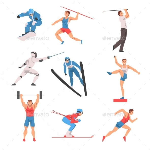 Male Athlete Character in Sports Uniform Set - Sports/Activity Conceptual