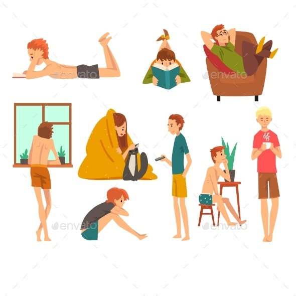 People Spending Weekend at Home and Relaxing Set - People Characters