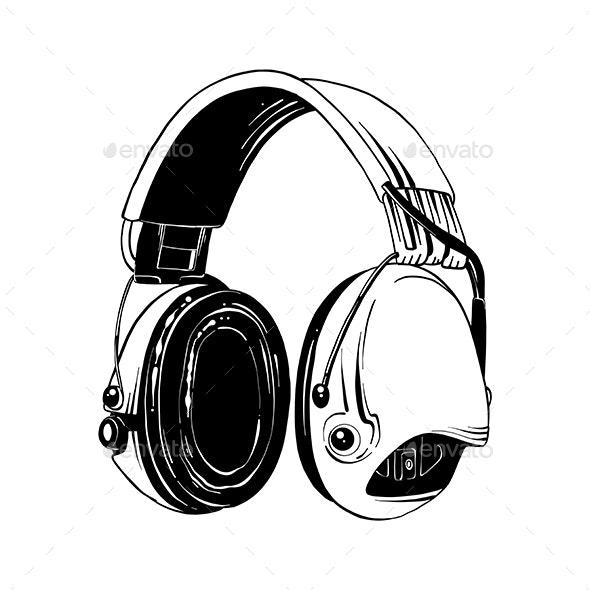 Hand Drawn Sketch of Headphones - Media Technology