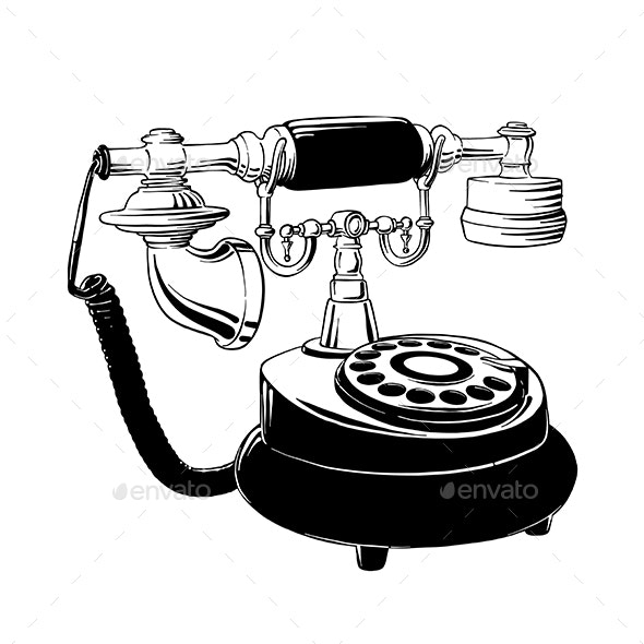 Hand Drawn Sketch of Retro Phone - Retro Technology