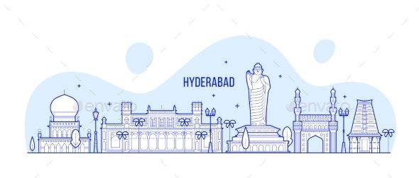 Hyderabad Skyline Telangana India City Line Vector - Buildings Objects
