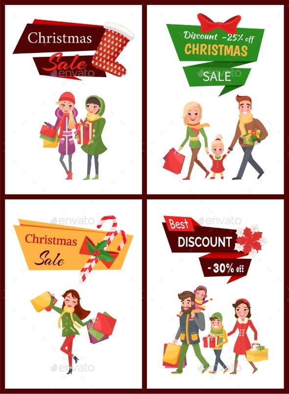 Christmas Sale and Discounts Shopping Families - Business Conceptual