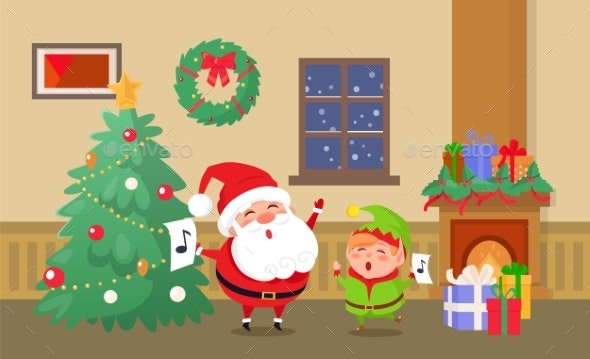 Merry Christmas Celebration of Elf and Santa Claus - Seasons/Holidays Conceptual