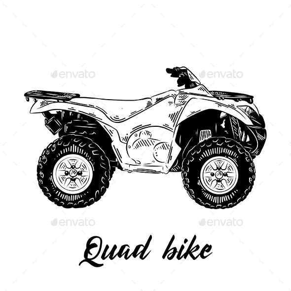 Hand Drawn Sketch of Quad Bike in Black - Miscellaneous Vectors