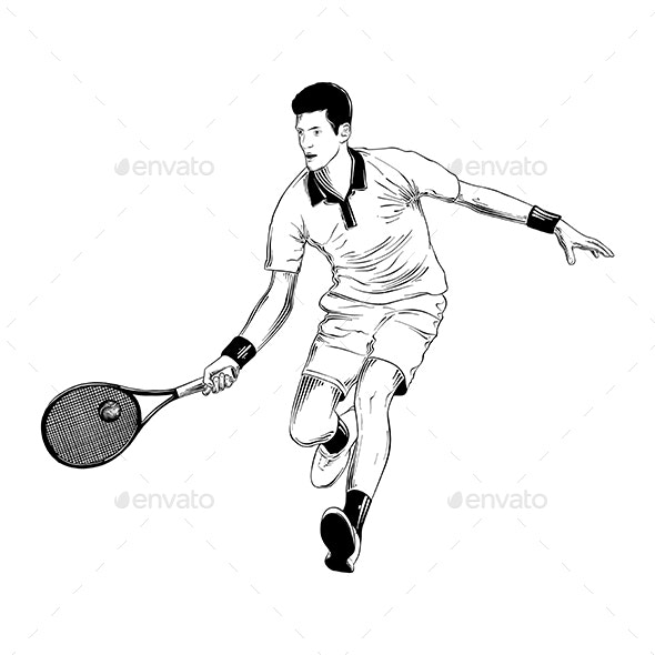 Hand Drawn Sketch of Tennis Player - Sports/Activity Conceptual