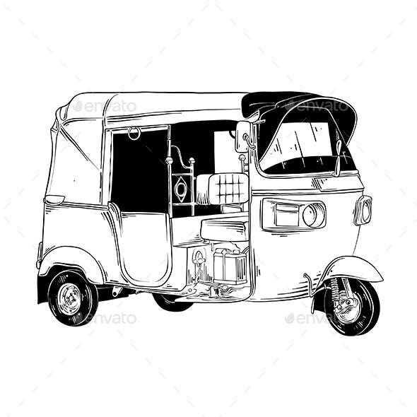 Hand Drawn Sketch of Thai Tuk Tuk Transport - Miscellaneous Vectors