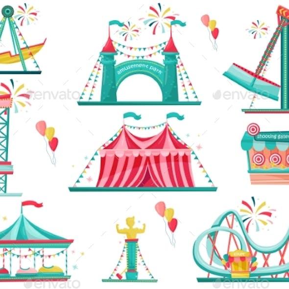 Flat Vector Set of Amusement Park Icons. Funfair