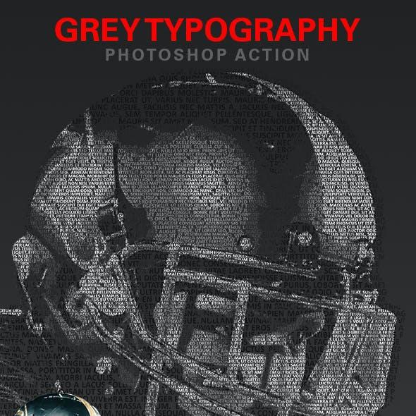 Grey Typography Photoshop Action