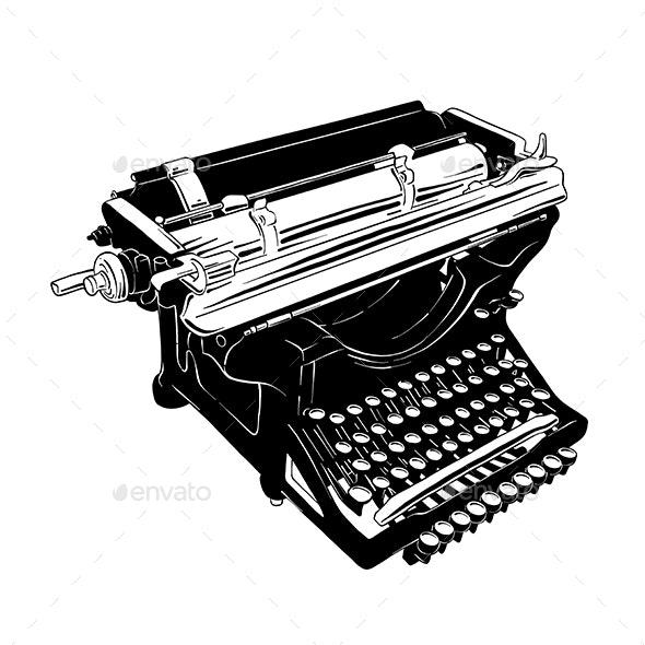 Hand Drawn Sketch of Vintage Typewriter - Retro Technology
