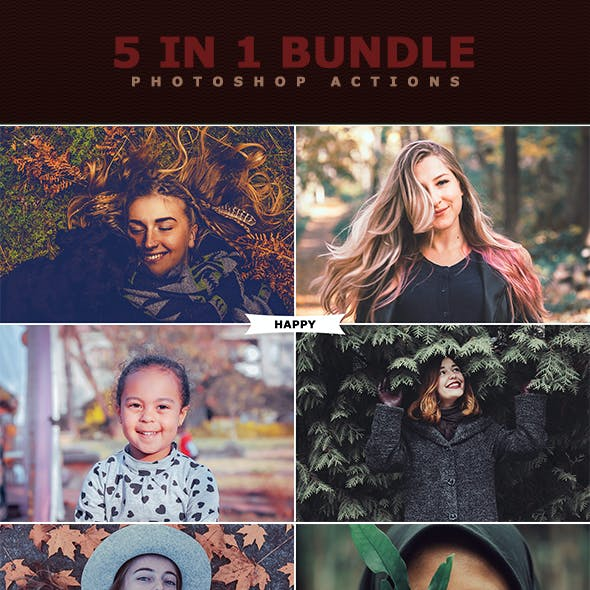 5 IN 1 Photoshop Actions Bundle