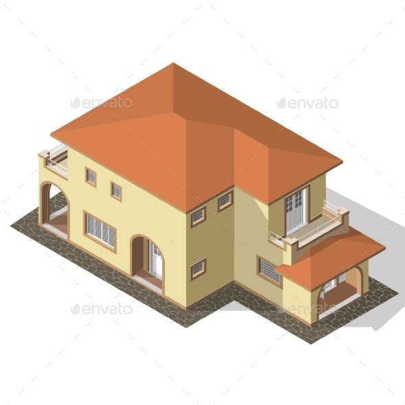 Cottage Isometric Vector - Buildings Objects