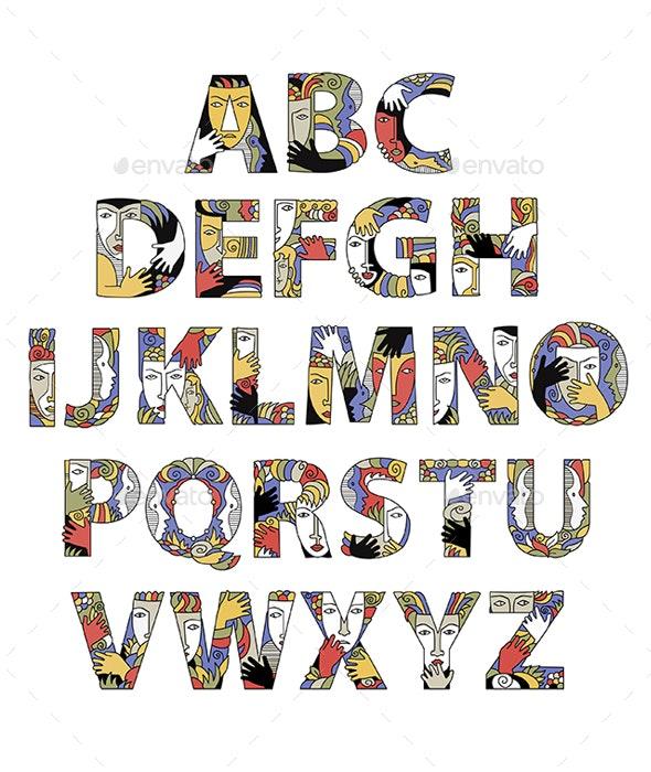 Alphabet With Decorative Masks - Decorative Symbols Decorative