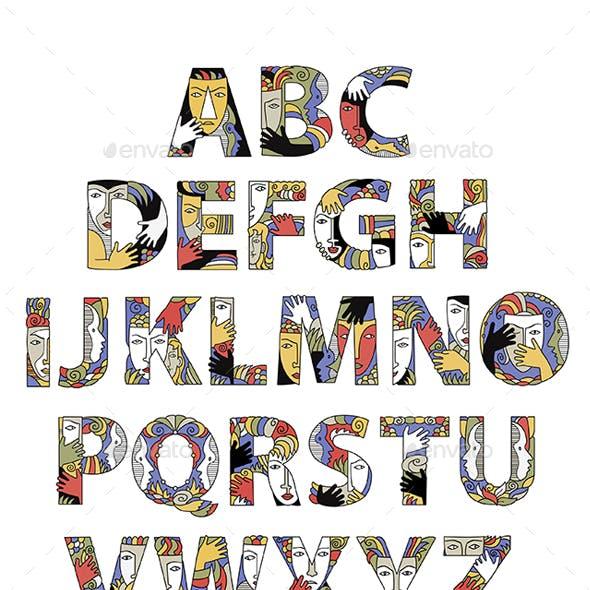 Alphabet With Decorative Masks