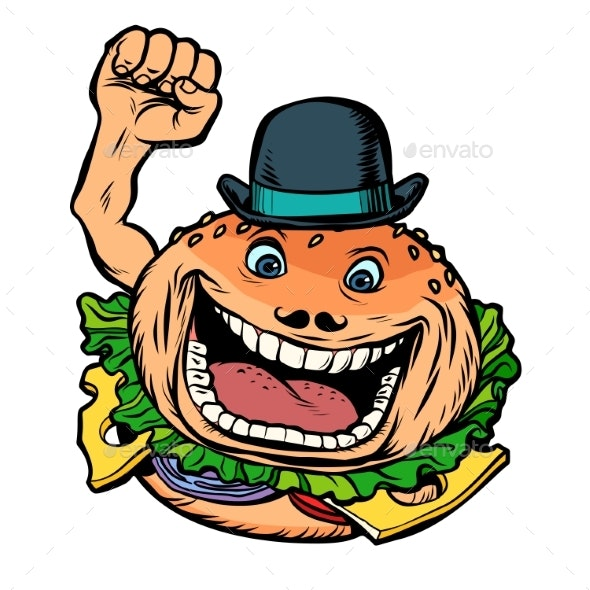 Bowler Hat Fast Food Burger - Food Objects