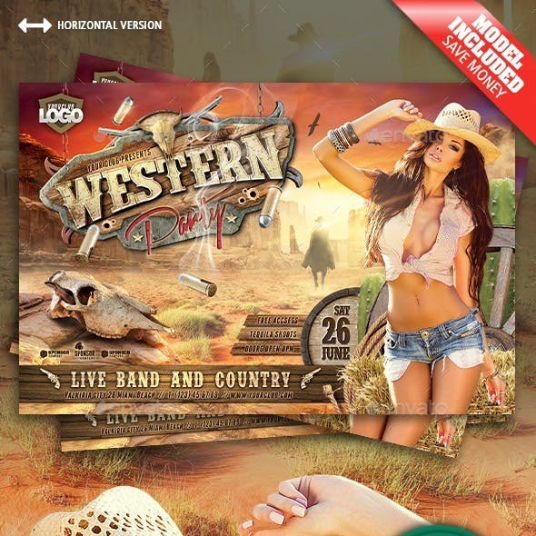 Western Party Horizontal Flyer