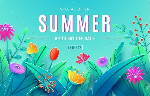 Summer Sale Ad Background with Paper Cut Fantasy - Backgrounds Decorative