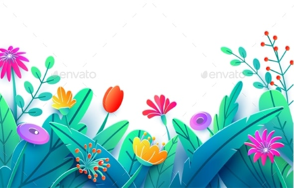 Summer Border With Paper Cut Fantasy Flowers By Zaie Graphicriver