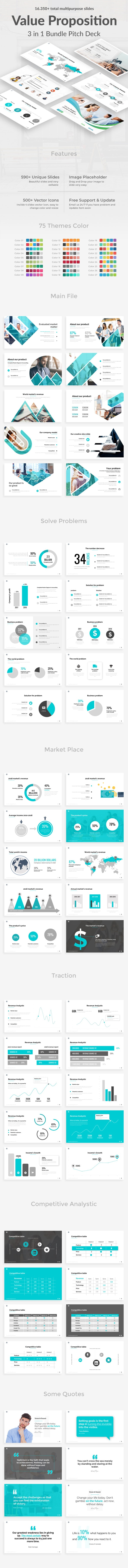 Value Proposition 3 in 1 Pitch Deck Bundle Powerpoint Template - Business PowerPoint Templates