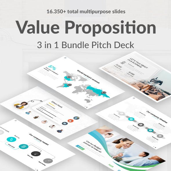 Value Proposition 3 in 1 Pitch Deck Bundle Powerpoint Template