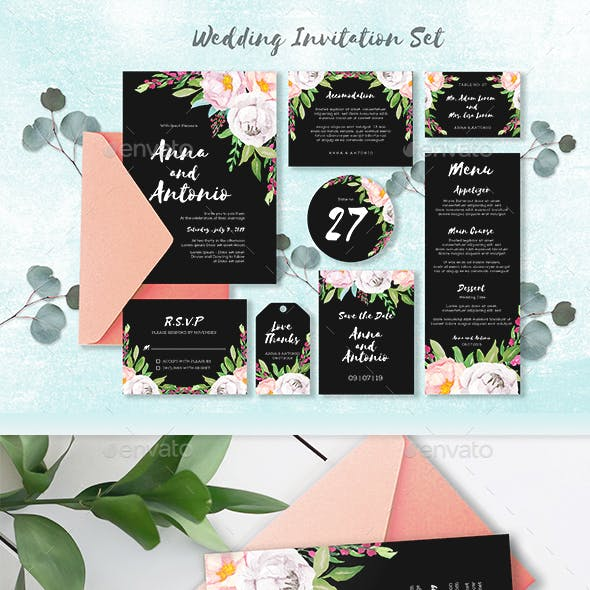 Watercolor Invitations Set Collection