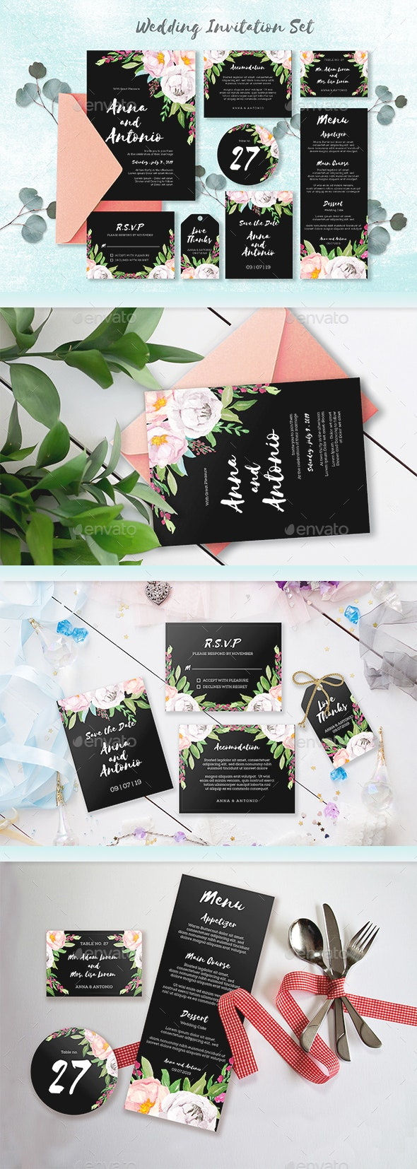 Watercolor Invitations Set Collection - Weddings Cards & Invites