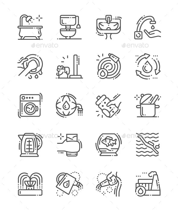 Water consumption Line Icons - Business Icons