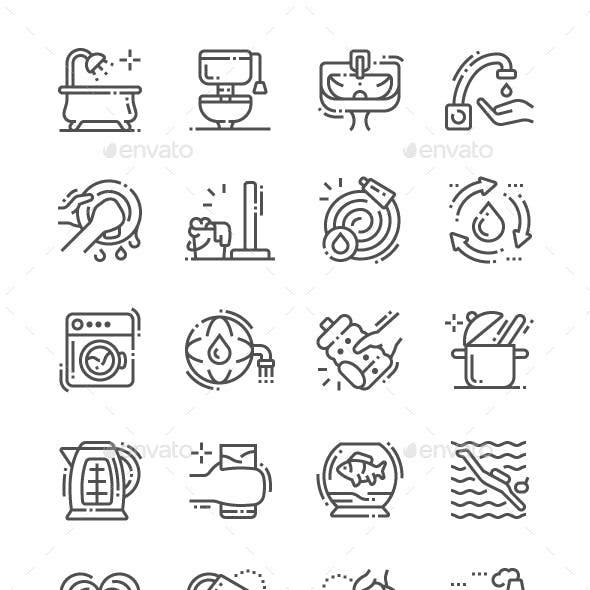 Water consumption Line Icons