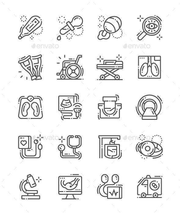 Medical facilities Line Icons - People Characters