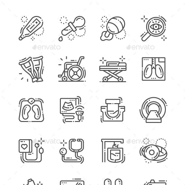 Medical facilities Line Icons