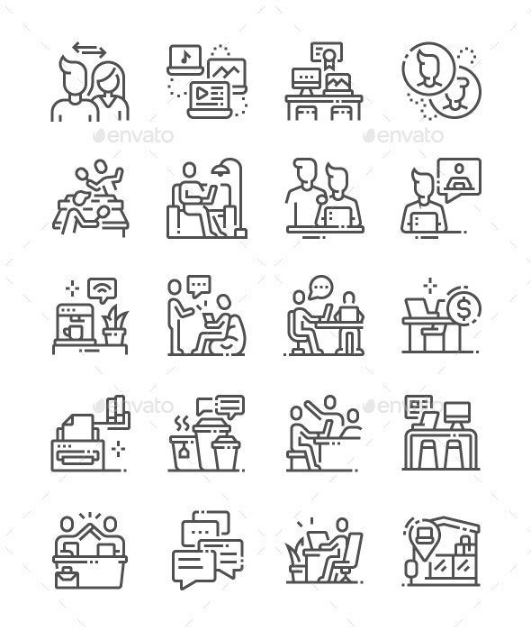 Coworking Line Icons - Business Icons