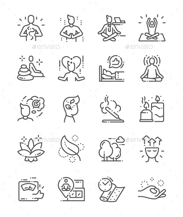 Meditation and spiritual practices Line Icons - People Characters