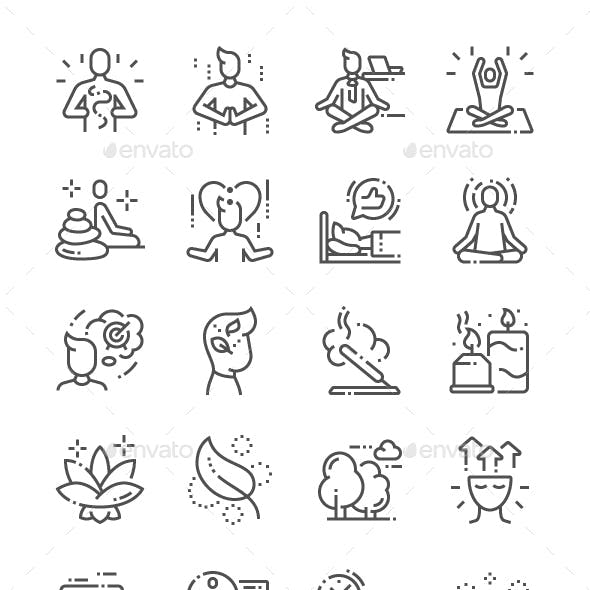 Meditation and spiritual practices Line Icons