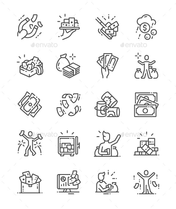 A lot of money Line Icons - Business Icons