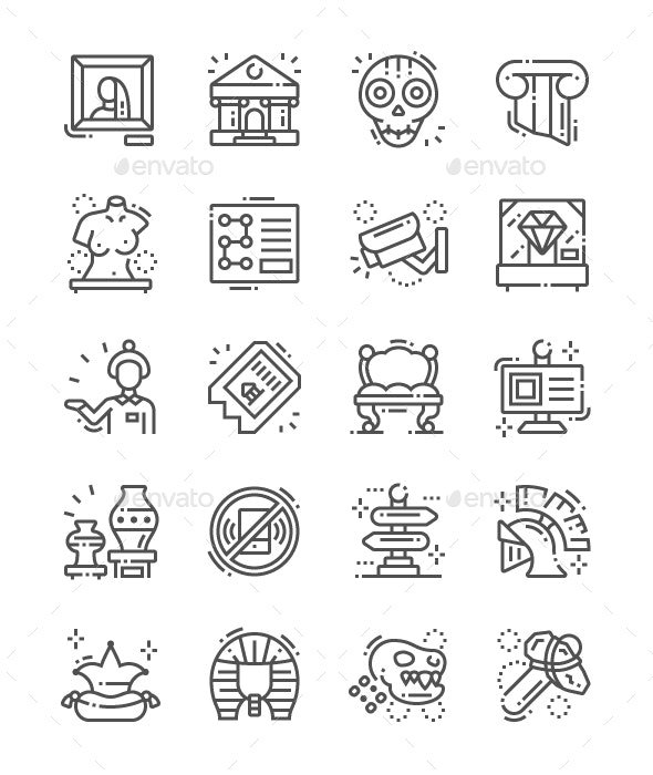 Museum Line Icons - Miscellaneous Characters