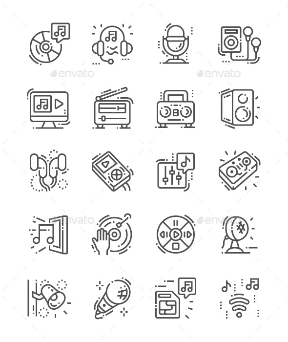 Music Devices Line Icons - Miscellaneous Characters