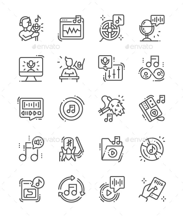 Sound recording Line Icons - Miscellaneous Characters