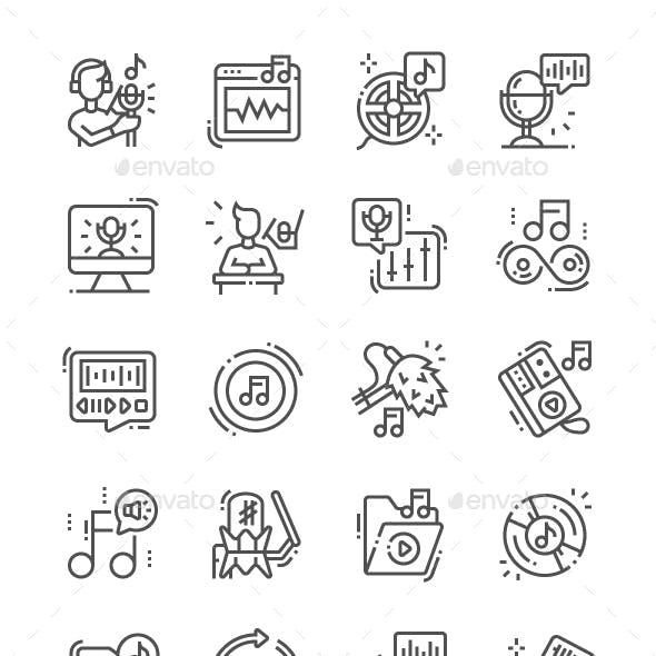 Sound recording Line Icons