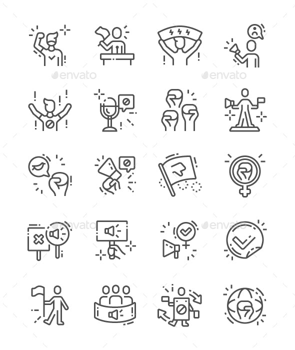 Activist Line Icons - People Characters