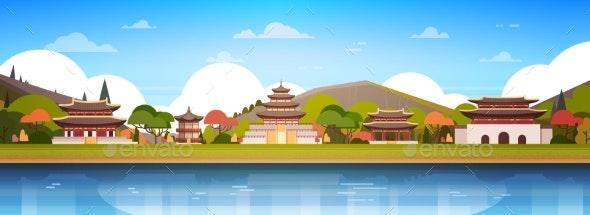 Korea Palaces On River Landscape South Korean - Buildings Objects