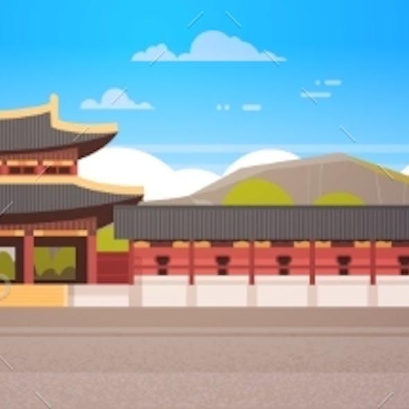 Korea Palace Landscape South Korean Temple Over