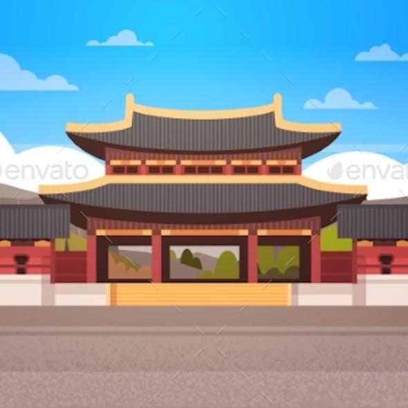 Traditional Korea Temple Over Mountains Landscape