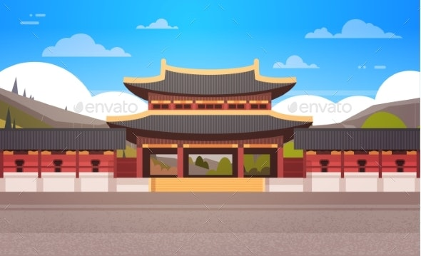 Traditional Korea Temple Over Mountains Landscape - Buildings Objects