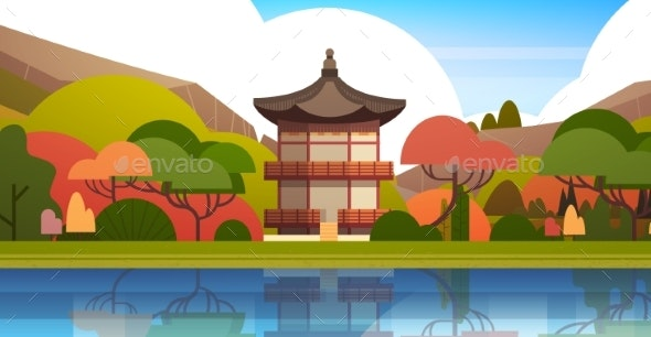 Traditional South Korea Landscape Palace Or Temple - Buildings Objects