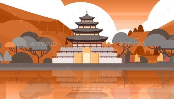 Traditional Korea Temple Over Mountains Silhouette - Buildings Objects